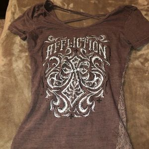 Brown lace and rhinestone top